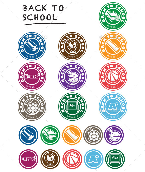 Back to School Icon Set Labels - Objects Vectors