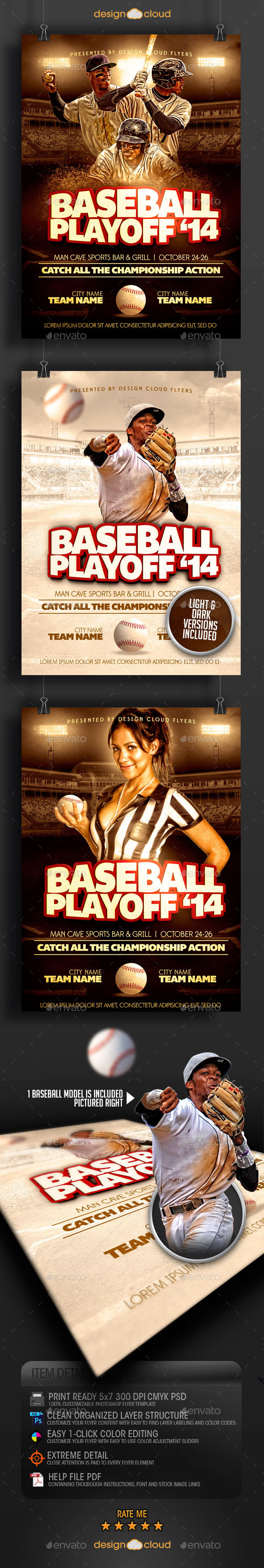 Baseball Playoff '14 Flyer Template - Sports Events