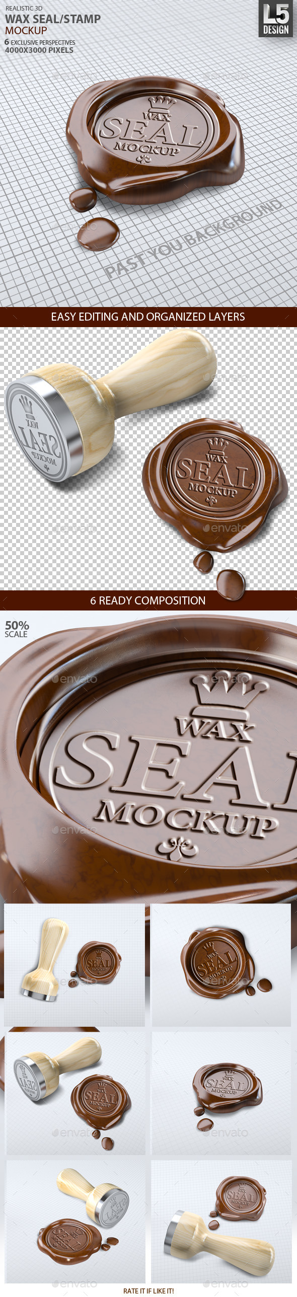 Wax Seal Stamp Mock-up - Product Mock-Ups Graphics