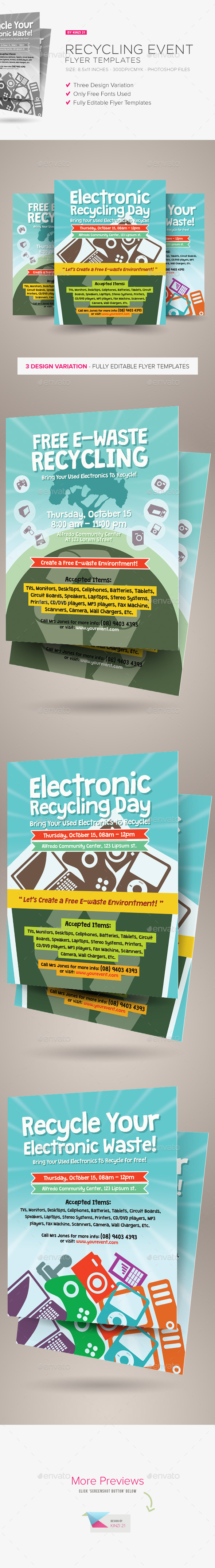 Recycling Event Flyer Templates - Miscellaneous Events