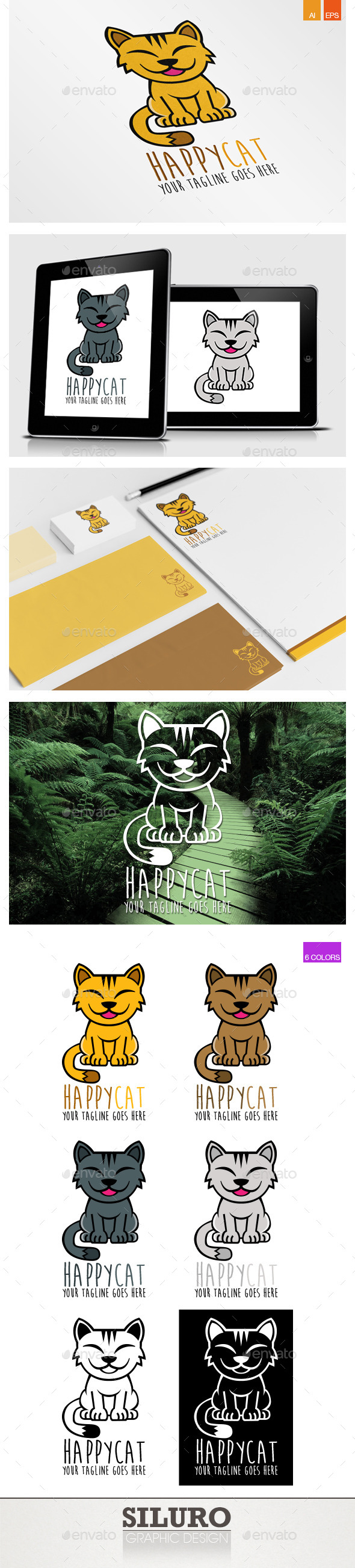 Happy Cat Logo - Animals Logo Templates