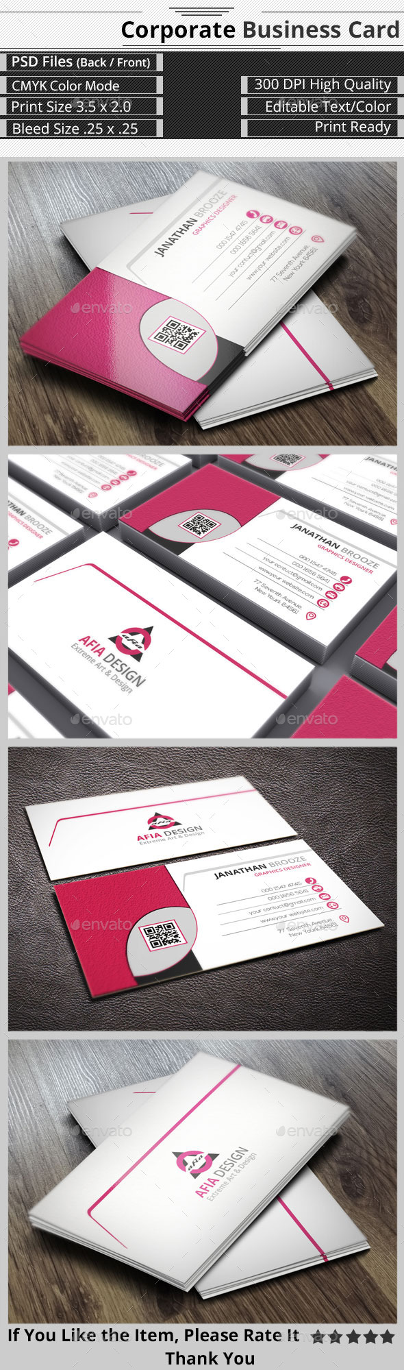 Clean & Smart Corporate Business Card - Corporate Business Cards