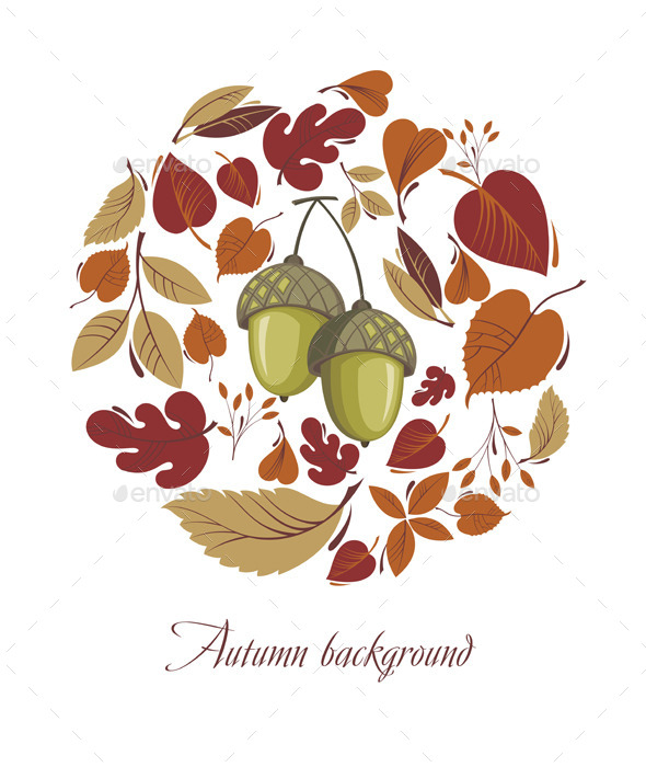 Autumn Leaves with Acorn - Flowers & Plants Nature