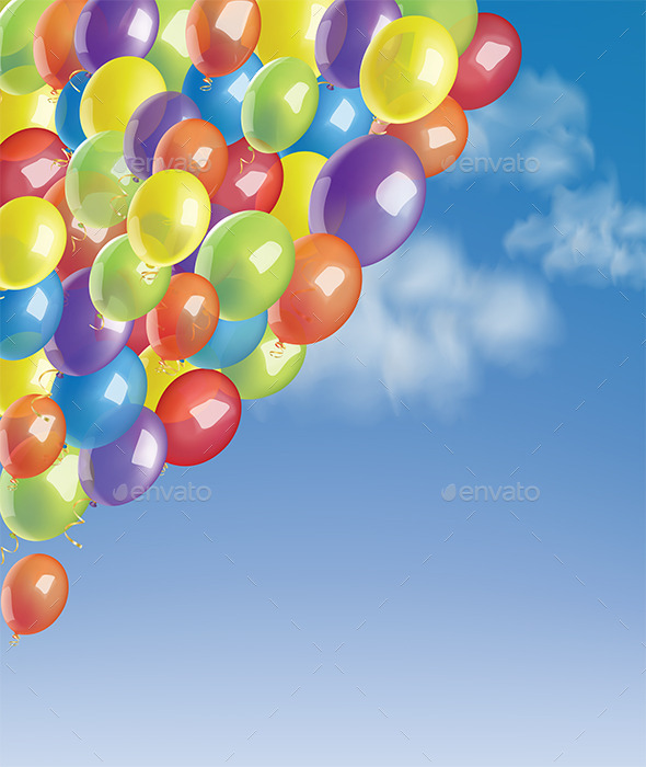 Baloons in a Blue Sky with Clouds - Backgrounds Decorative