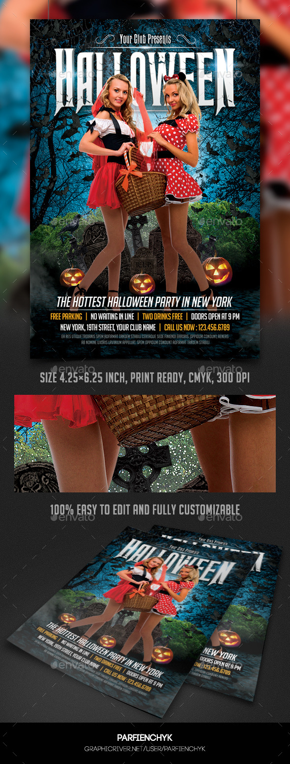 Sexy Halloween Party Flyer Template - Clubs & Parties Events