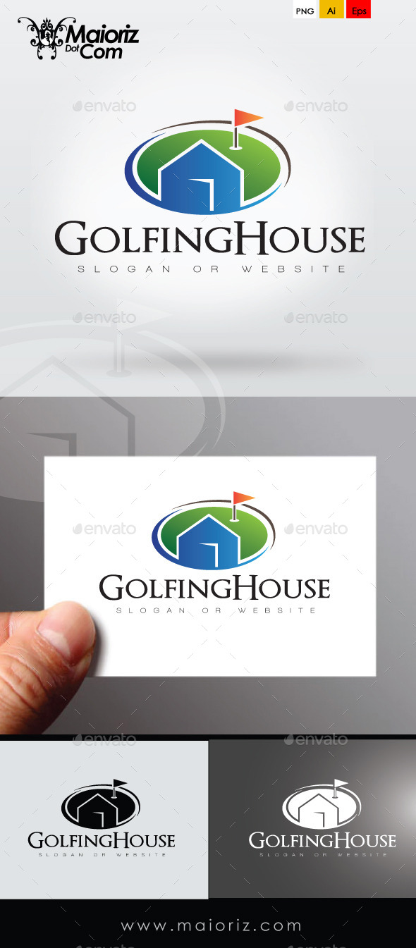 Golfing House Logo Template - Buildings Logo Templates