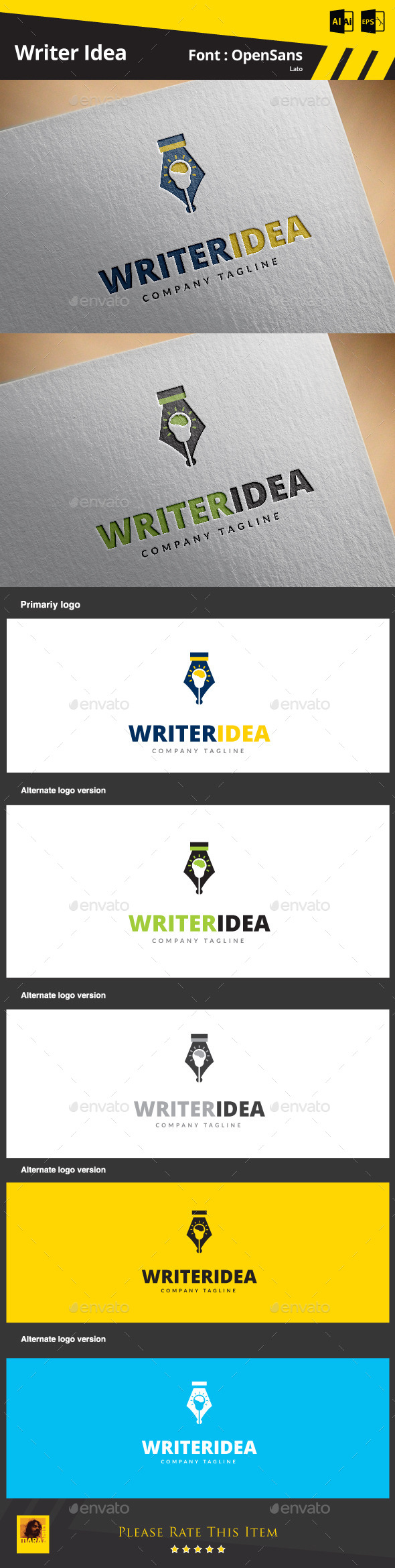 Writer Idea - Symbols Logo Templates