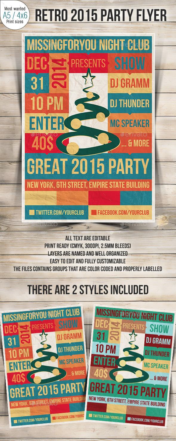 New Year 2015 Retro Party Flyer - Clubs & Parties Events