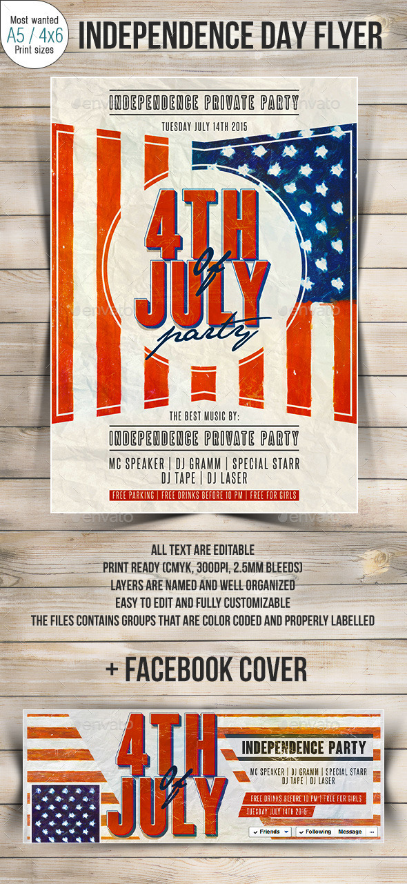 US Flag 4th Of July Party Flyer - Clubs & Parties Events