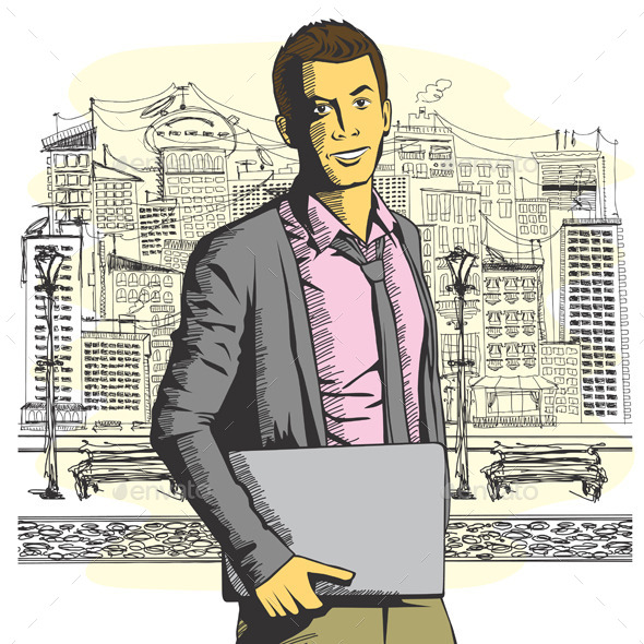 Man with Laptop - People Characters