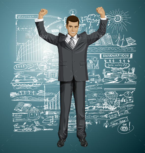 Businessman with Hands Up - People Characters