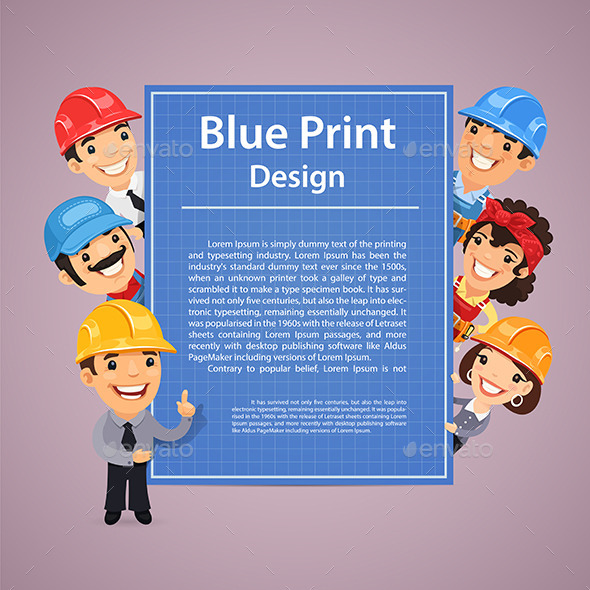 Builders Presenting Blue Print Poster - Concepts Business