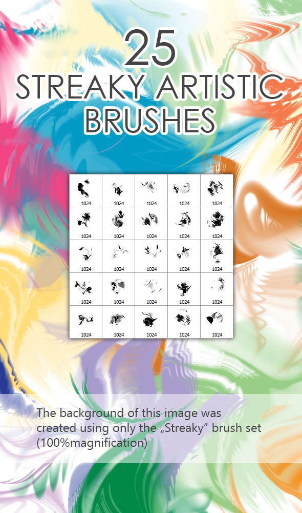 25 Streaky Artistic Brushes - Abstract Brushes