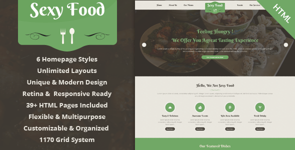 Sexy Food – Food & Restaurant HTML Template