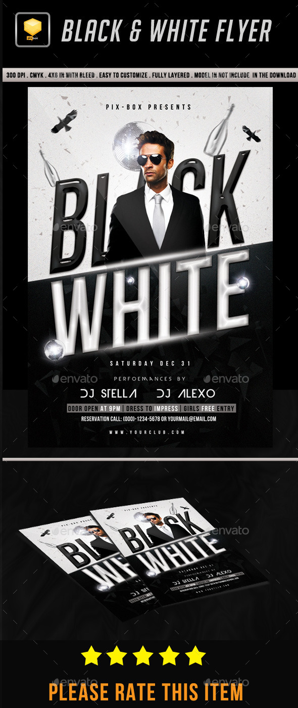 Black & White Flyer - Clubs & Parties Events