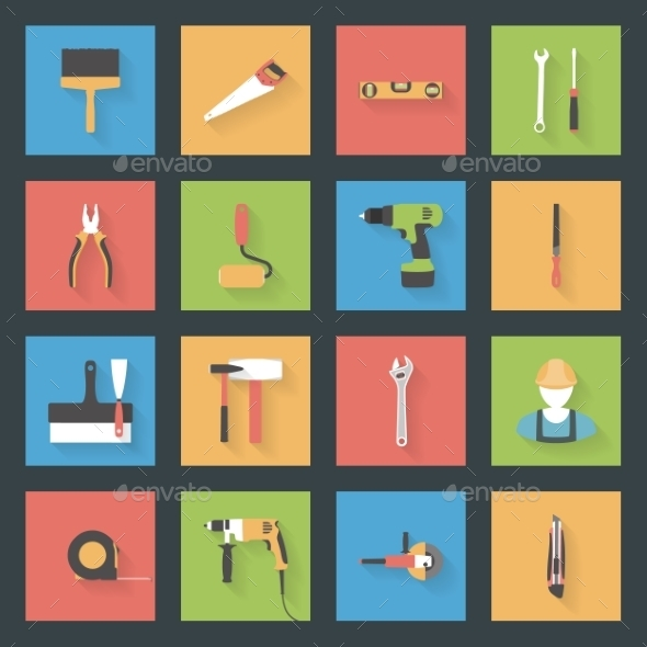 Building Flat Icons Set - Miscellaneous Conceptual