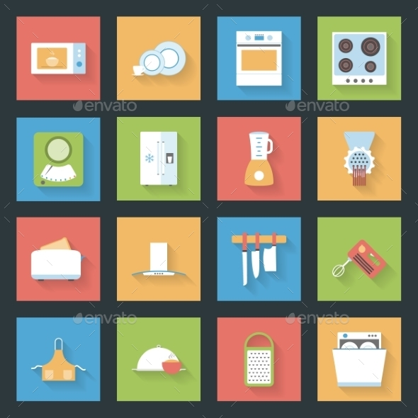 Kitchen Flat Icons Set - Web Elements Vectors