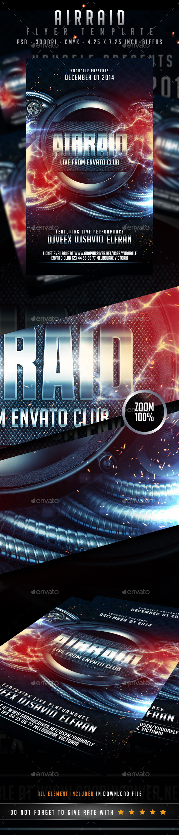 Air Raid Flyer - Clubs & Parties Events