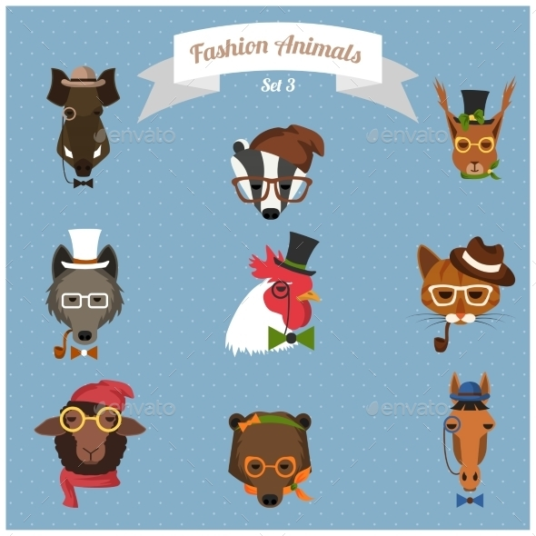 Fashion Hipster Animals set 3 - Animals Characters
