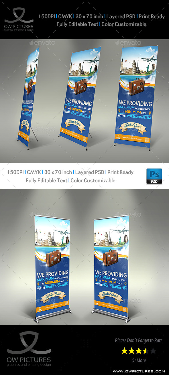 Travel Roll-up Signage Banner Template - Signage Print Templates