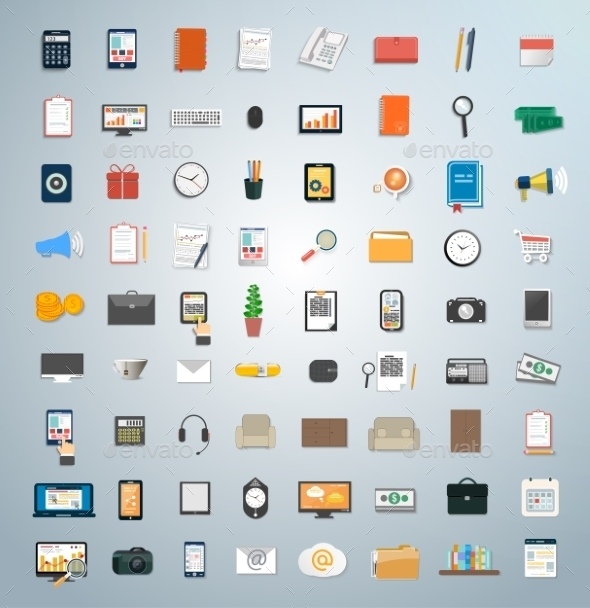 Set of Various Business Concept Items Icons - Concepts Business