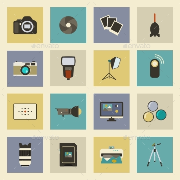 Photo Equipment Flat Icons Set  - Technology Conceptual