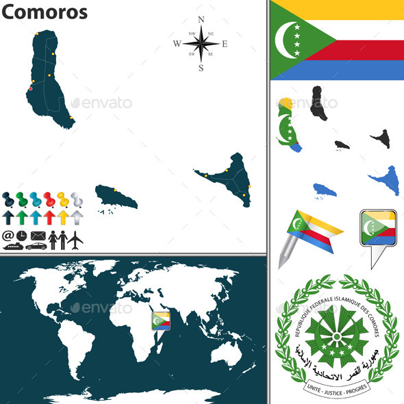Map of Comoros - Travel Conceptual