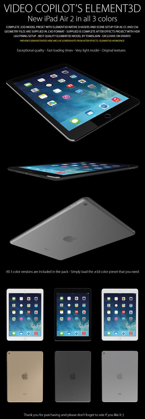 Element3D - iPad Air 2 - 3DOcean Item for Sale