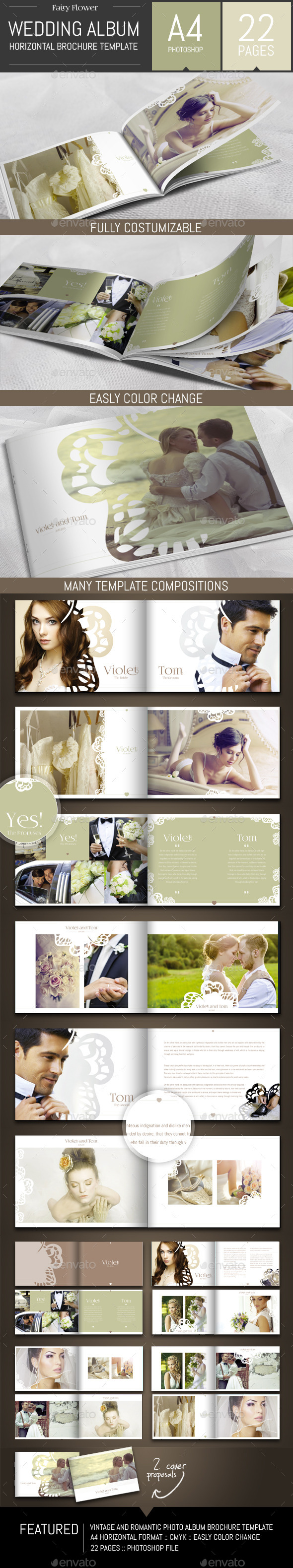 Wedding Photo Album Horizontal Brochure Template - Photo Albums Print Templates