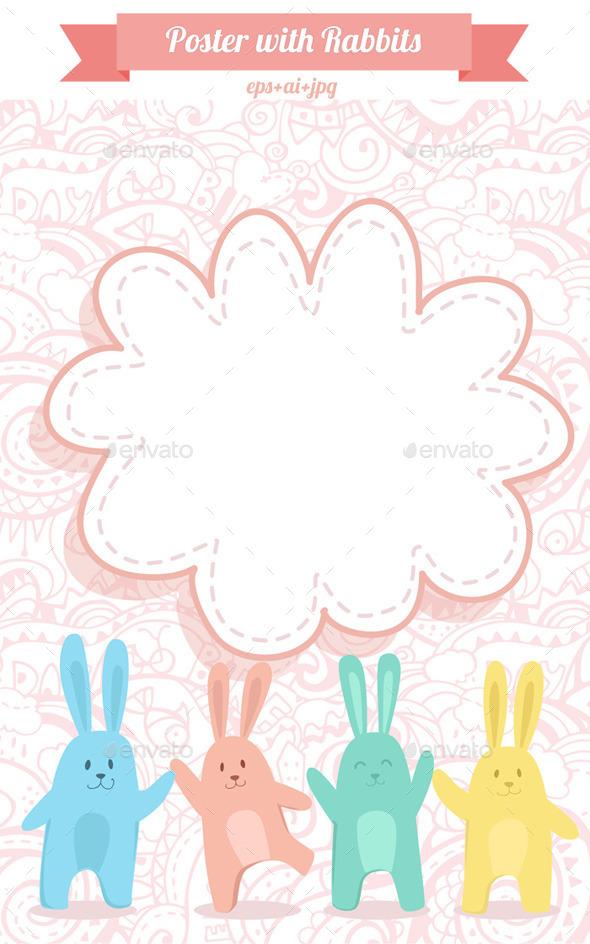 Poster with Rabbits - Decorative Vectors