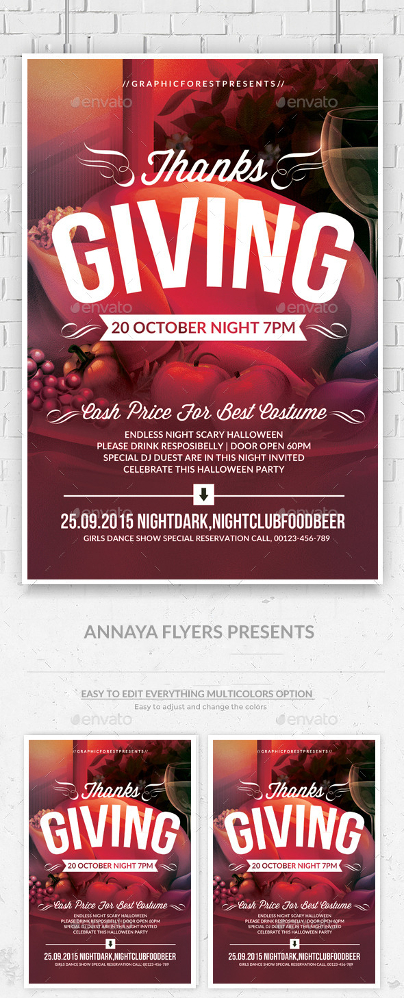 Thanks Giving Party Flyer Template - Clubs & Parties Events