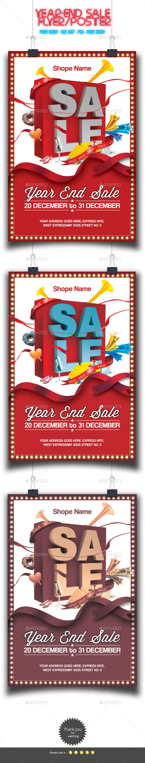 Year-End Sale Flyer/Poster - Holidays Events