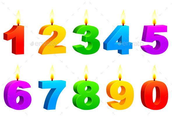 Numbered Candles - Birthdays Seasons/Holidays