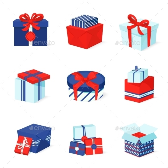 Gift Box Icons Set - Web Technology