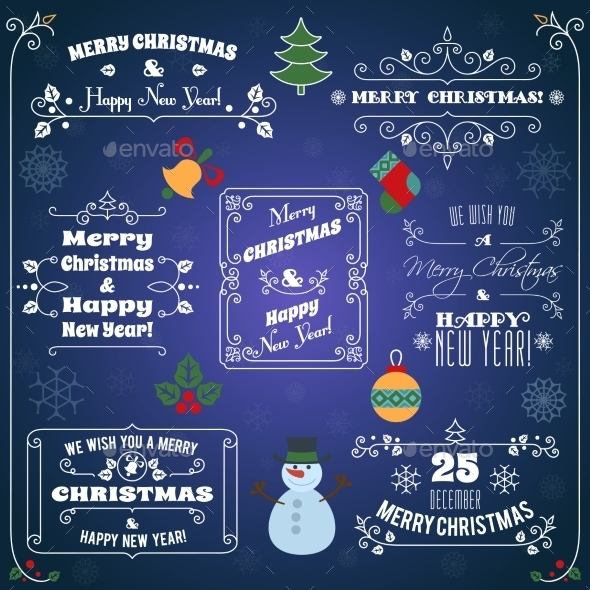 Christmas Typographic Labels Set - Christmas Seasons/Holidays