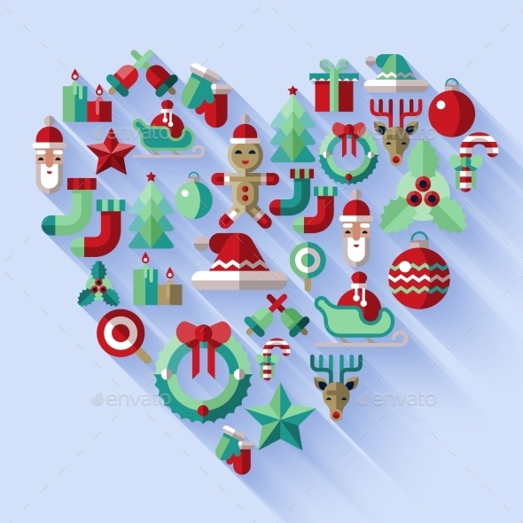 Christmas icons heart - Christmas Seasons/Holidays