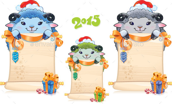 Lamb with Scroll - Symbol of Chinese Horoscope - New Year Seasons/Holidays