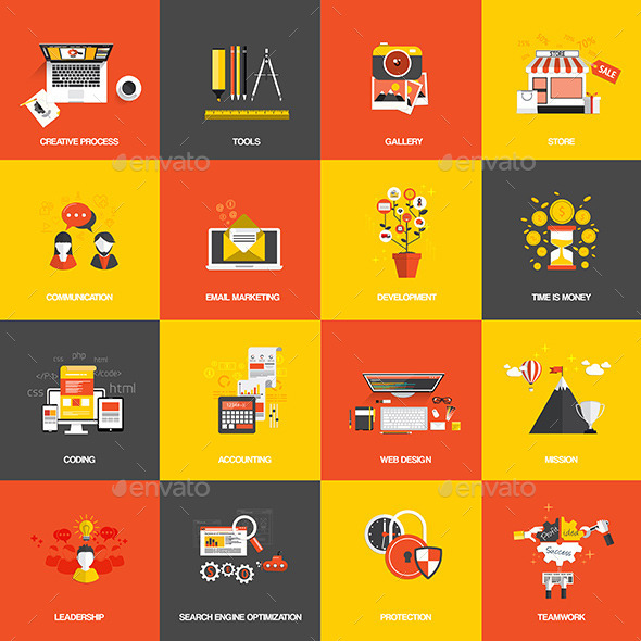 Set of Flat Design Concept Icons - Technology Conceptual