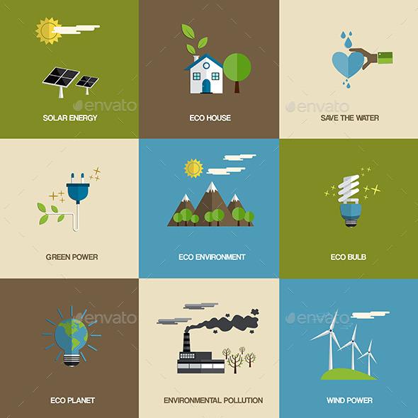 Set of Flat Designed Ecology Icons - Characters Icons