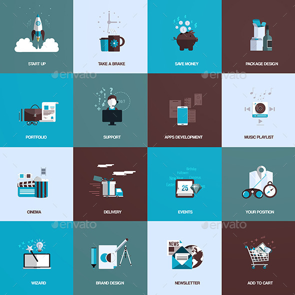 Set of Flat Design Concept Icons - Business Icons