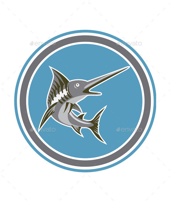 Blue Marlin Fish Jumping Circle Retro - Animals Characters