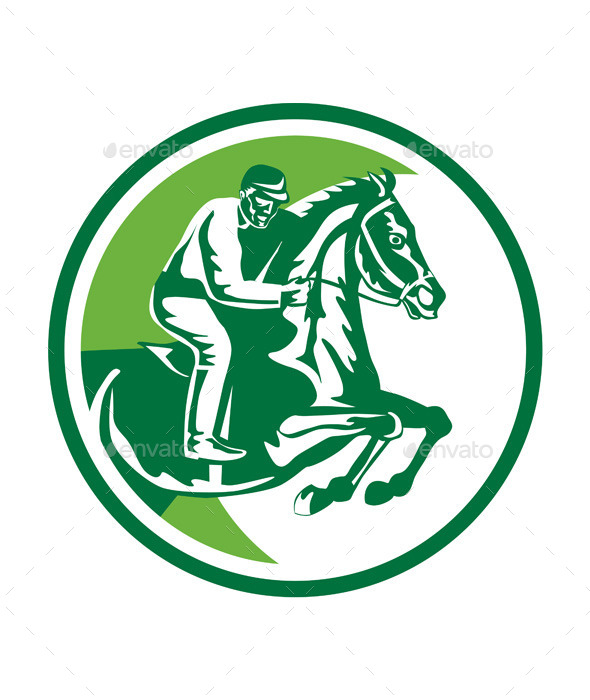 Equestrian Show Jumping Side Circle Retro - Sports/Activity Conceptual