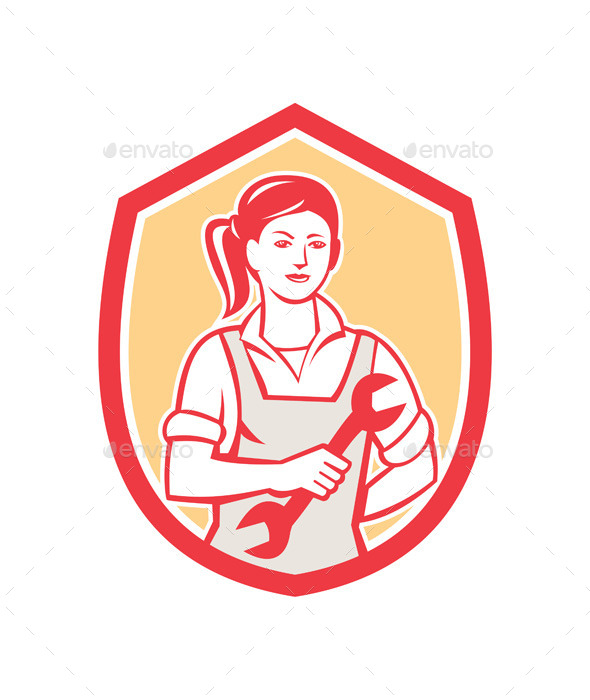 Female Mechanic Spanner Shield Retro - People Characters