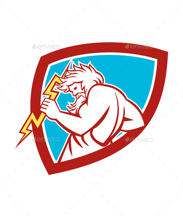 Zeus Wielding Thunderbolt Shield Retro - People Characters