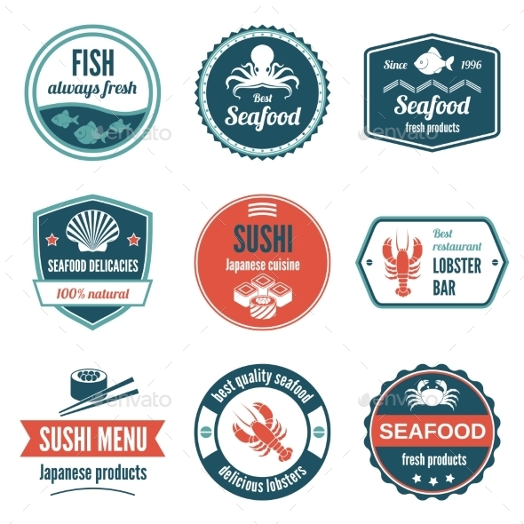 Seafood Label Set - Food Objects