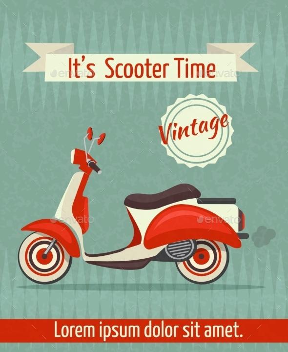 Scooter Retro Poster - Travel Conceptual