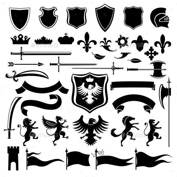 Heraldic set black - Web Elements Vectors