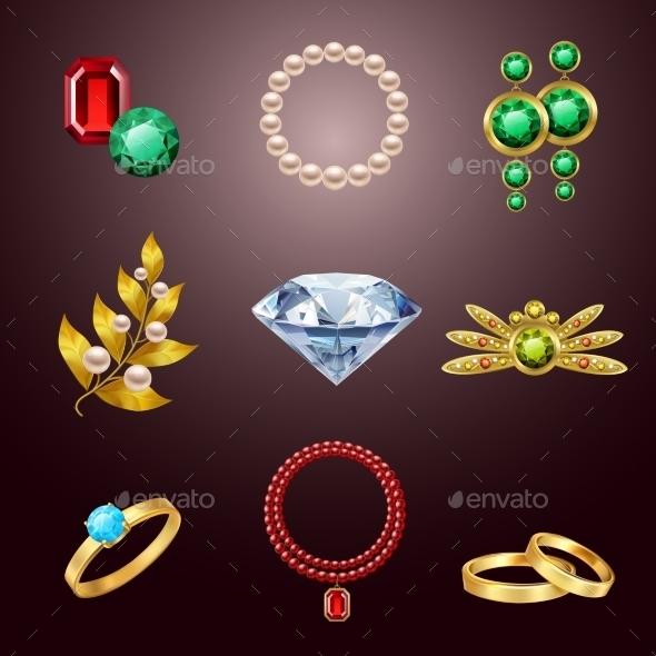 Jewelry Realistic Icons - Decorative Symbols Decorative