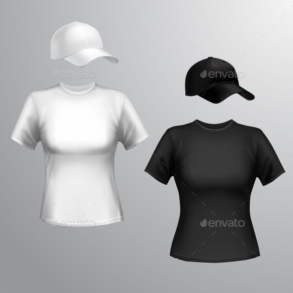 Women T-shirt Baseball Cap - Retail Commercial / Shopping
