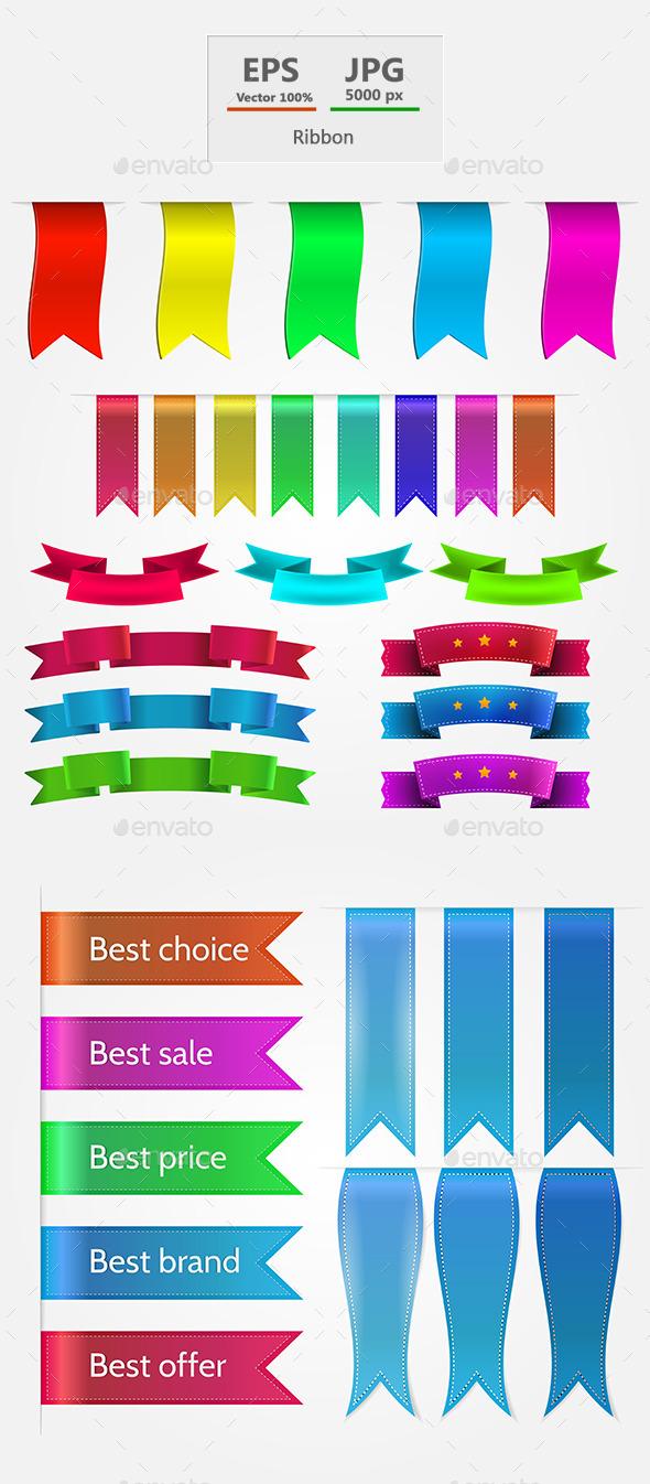 Colored Ribbons Set - Decorative Symbols Decorative
